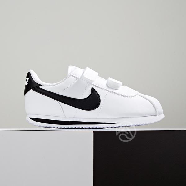 a095c481fc Nike Cortez Basic SL (TDV) 小童阿甘魔鬼氈皮革白黑904769-102 | AquaFeb